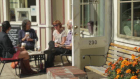 People sitting outside a bistro (1 of 2) Footage