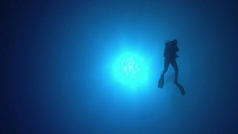 Divers Swims over Camera Footage