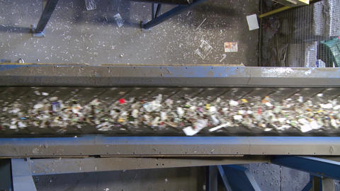 Blue conveyors transporting recyclables (2 of 4) Footage