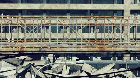 Rusty bridge on a construction wrecks background Footage