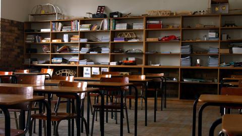 Empty classroom in a school Footage