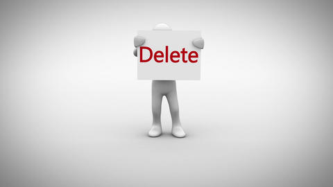 White character holding sign saying delete Animation