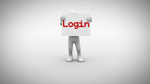 White character holding sign saying login Animation