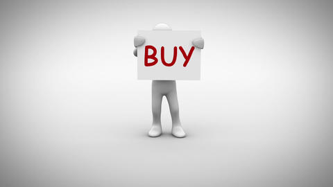 White character holding sign saying buy Animation