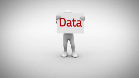 White character holding sign saying data Animation