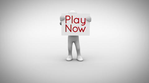 White character holding sign saying play now Animation
