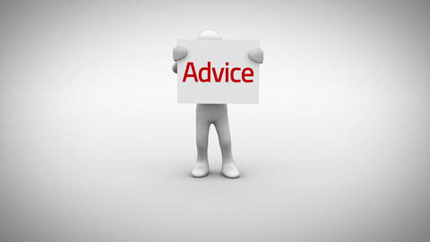 White character holding sign saying advice Animation
