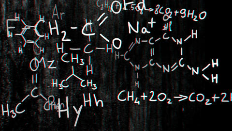 Chemistry v2 01 Stereoscopic 3D Anaglyph red blue Animation