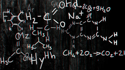 Chemistry v2 01 Stereoscopic 3D Anaglyph red blue Stock Video Footage
