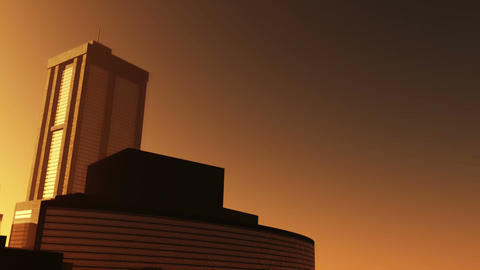 Nuclear Factory and Towers 02 sunset Animation