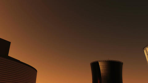 Nuclear Factory and Towers 02 sunset Stock Video Footage
