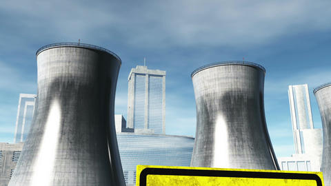 Nuclear Factory and Towers 04 Stock Video Footage