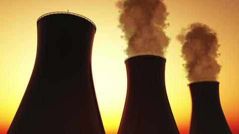 Nuclear Power Plant Stacks 03 Animation