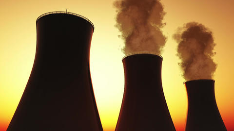 Nuclear Power Plant Stacks 03 Stock Video Footage