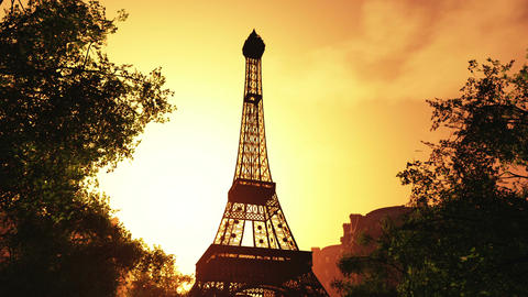 Sunset in Paris 01 Stock Video Footage