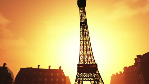 Sunset in Paris 03 Stock Video Footage