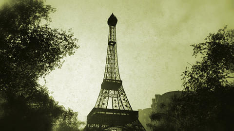 Sunset in Paris 07 vintage Stock Video Footage