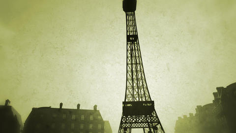 Sunset in Paris 09 vintage Animation