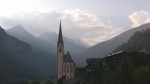 Church in the Austrian Alps Stock Video Footage