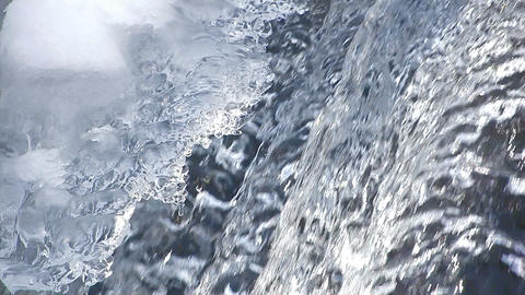 Waterfall and modeling of ice in Aomori,Japan Stock Video Footage