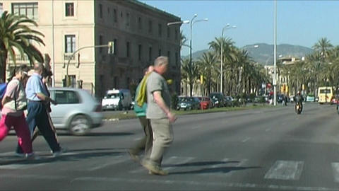 Palma de Mallorca - Pedestrians Stock Video Footage