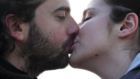 lovers kissing Stock Video Footage