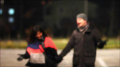 lovers at night Stock Video Footage