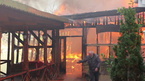 fire in wooden house Stock Video Footage