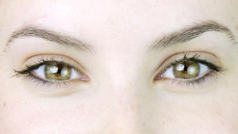 Gorgeous green eyes macro Stock Video Footage