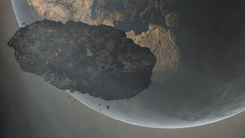 Asteroid Over Earth Stock Video Footage