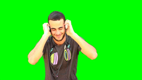 Green Screen man Dance dancer dancing music headphones... Stock Video Footage