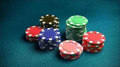 Casino 6 of chips blue table 2 Stock Video Footage