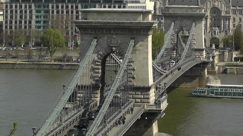 Chain Bridge Danube Pest View Budapest Hungary 02 Stock Video Footage