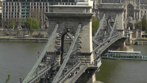 Chain Bridge Danube Pest View Budapest Hungary 02 Footage