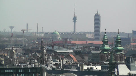 European City Rooftops View 02 Stock Video Footage