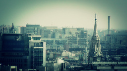 European City Rooftops View 10 stylized Stock Video Footage