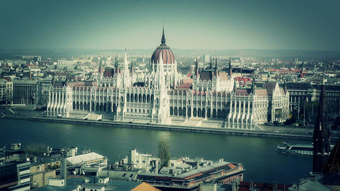 Hungarian Parliament Budapest Hungary 13 stylized Stock Video Footage
