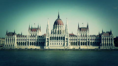 Hungarian Parliament Budapest Hungary 15 stylized Stock Video Footage