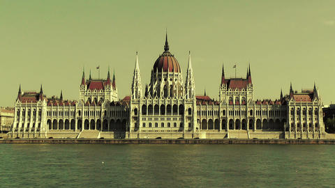 Hungarian Parliament Budapest Hungary 21 stylized Stock Video Footage