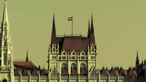 Hungarian Parliament Budapest Hungary 23 stylized Stock Video Footage
