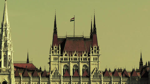Hungarian Parliament Budapest Hungary 23 stylized Stock Video Footage