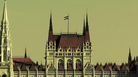 Hungarian Parliament Budapest Hungary 23 stylized Footage