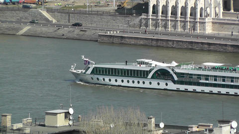 Ship On Danube Stock Video Footage