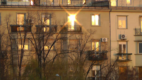 Sunlight Window Reflection in the Sunset Stock Video Footage