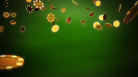 Casino chips gold green Stock Video Footage
