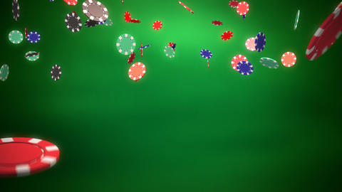 Casino color chips dropping green Stock Video Footage