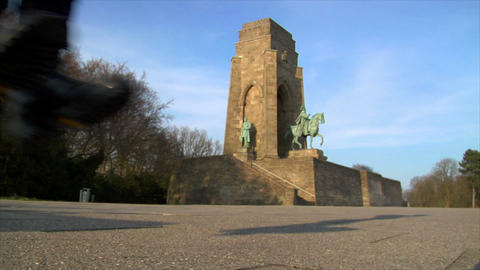 10674 nazi boots jump emperor monument Stock Video Footage
