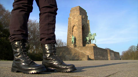 10678 nazi boots walk emperor monument wide Stock Video Footage