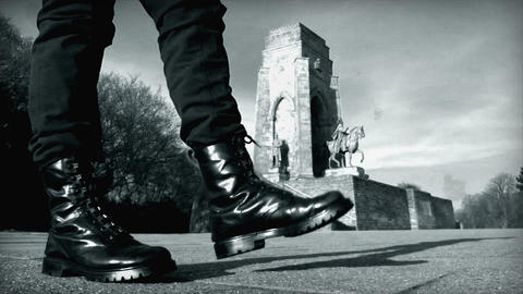 10680 nazi boots walk emperor monument historic Stock Video Footage