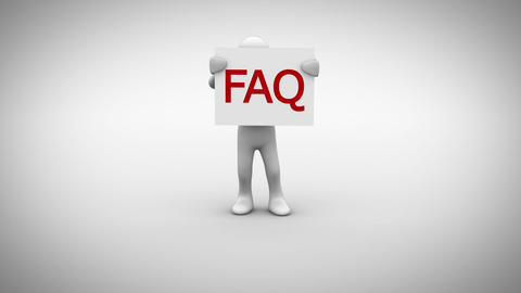 White character holding sign saying FAQ Animation